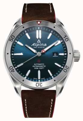 Alpina Alpiner 4 automático para hombre | correa de cuero marrón | esfera azul AL-525NS5AQ6