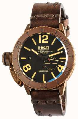 U-Boat Sommerso 46 | bronce | bisel de cerámica | correa automática de cuero marrón 8486/C