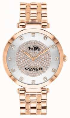 Coach Parque de mujeres | pulsera de acero bañado en oro rosa | esfera blanca 14503735