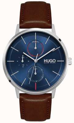 HUGO #exist | correa de cuero marrón para hombre | esfera azul 1530201