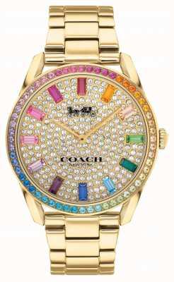 Coach Preston femenino | pulsera de acero chapado en oro | esfera de cristal 14503657