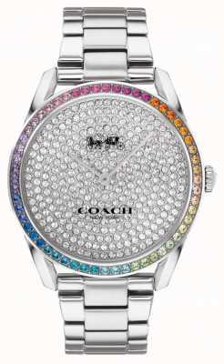 Coach Preston femenino | pulsera de plata de acero inoxidable | esfera de cristal 14503658