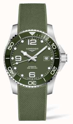 Longines Reloj automático Hydroconquest con correa de caucho verde L37813069