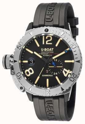 U-Boat Sommerso / un reloj con correa de caucho negro 9007/A
