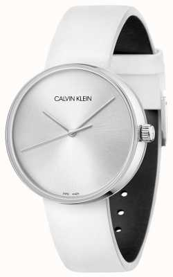 Calvin Klein Correa de piel blanca para mujer | esfera plateada KBL231L6
