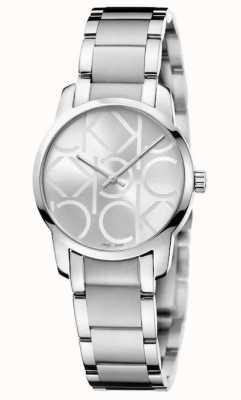 Calvin Klein Ciudad | pulsera de acero inoxidable para mujer | esfera plateada K2G23142