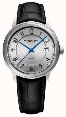 Raymond Weil | maestro | automático | esfera árabe de plata | correa de cuero negro 2237-STC-05658