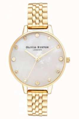 Olivia Burton Esfera grande pulsera de oro con fregona blanca caja fina OB16SE13
