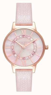 Olivia Burton Wonderland brillo rubor trapeador dial pearl pink & rg OB16WD93