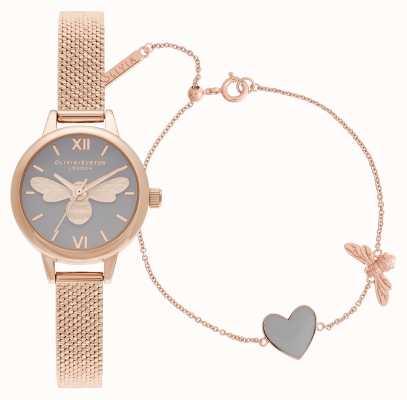 Olivia Burton Tienes mi corazón juego de regalo de reloj y pulsera de oro rosa OBGSET148