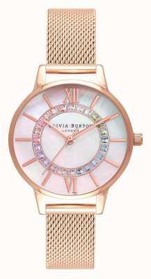 Olivia Burton Rainbow sparkle wonderland malla de oro rosa OB16WD95