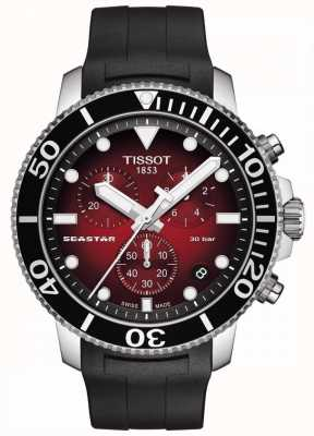 Tissot Seastar 1000 | cronógrafo | esfera roja | correa de silicona negra T1204171742100