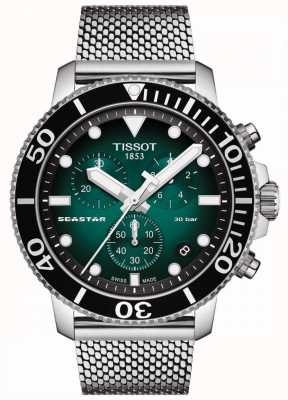 Tissot Seastar 1000 | cronógrafo | esfera verde | malla inoxidable T1204171109100