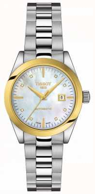 Tissot T-mi señora   Oro de 18 quilates   auto   dial de fregona   pulsera de acero inoxidable T9300074111600