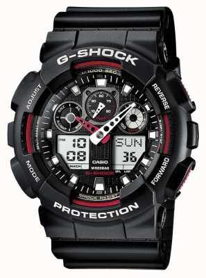 Reloj Casio G-Shock Cronógrafo Alarma Negro Rojo GA-100-1A4ER