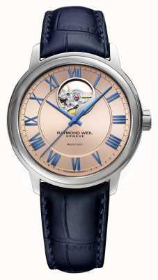 Raymond Weil Maestro | automático | esfera de cobre rosa | correa de cuero azul 2227-STC-00808