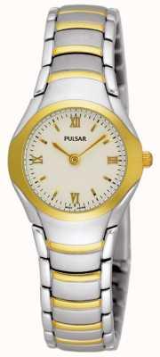 Pulsar Ladies relojes pulsera de acero inoxidable de dos tonos PEG406X1