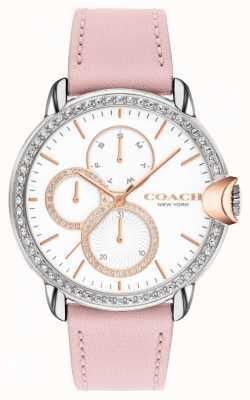 Coach Arden de mujeres | correa de piel rosa | esfera blanca 14503747