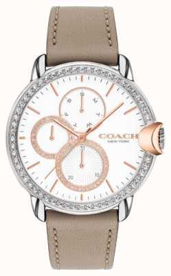 Coach Arden de mujeres | correa de piel de becerro piedra | esfera de cristal blanco 14503733