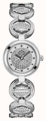 Harley Davidson Pulsera de eslabones de monedas de cristal para mujer | esfera de cristal 76L179