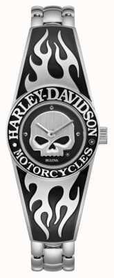 Harley Davidson Esfera de calavera en llamas willie g para mujer | brazalete de acero inoxidable 76L190