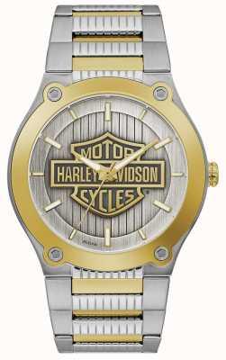 Harley Davidson Pulsera de acero bicolor para hombre   esfera plateada 78A125