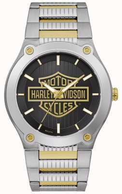 Harley Davidson Pulsera de acero bicolor para hombre   esfera negra 78A126
