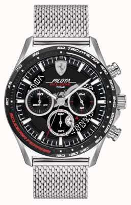 Scuderia Ferrari Pilota evo para hombre | pulsera de malla de acero plateado | esfera negra 0830826