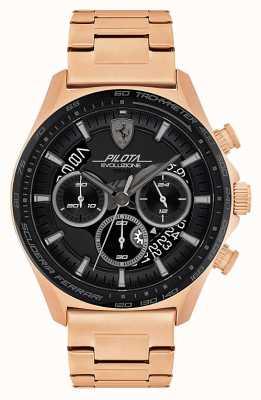 Scuderia Ferrari Pilota evo para hombre | pulsera de acero bañado en oro rosa | esfera negra 0830825
