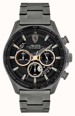 Scuderia Ferrari Pilota evo para hombre | pulsera de acero ip gris | esfera negra 0830824