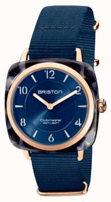 Briston Clubman chic | esfera azul marino de 36 mm en oro rosa | correa nato azul marino 21536.PRA.UB.33.NMB