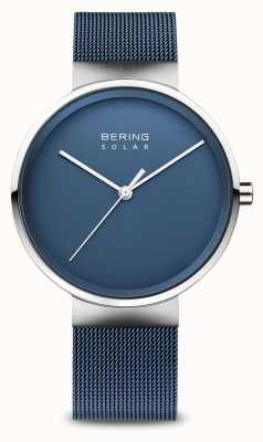 Bering Pulsera de malla azul solar para hombre 14339-307
