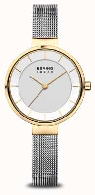 Bering Reloj solar para mujer dorado / plateado 14631-024
