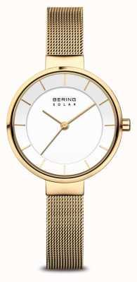 Bering Reloj solar de pulsera de malla chapado en oro para mujer 14631-324