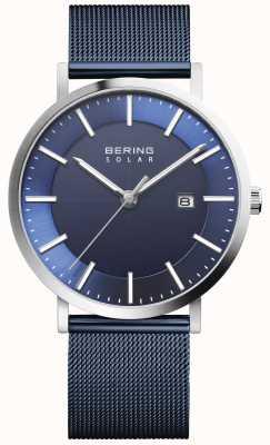 Bering Reloj solar para hombre con fecha y esfera azul 15439-307