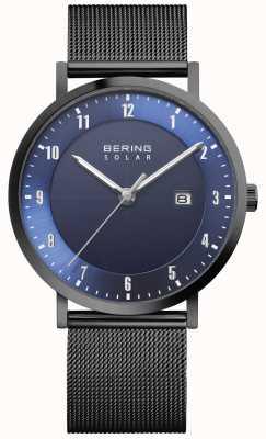 Bering Reloj solar para hombre con pulsera de malla negra y fecha 15439-327