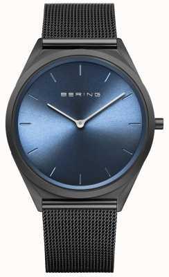 Bering Reloj ultraplano de malla milanesa negra 17039-227