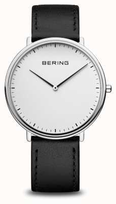 Bering Reloj clásico unisex con correa de piel negra 15739-404