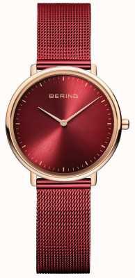 Bering Reloj clásico de mujer en rojo y oro rosa. 15729-363