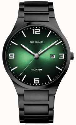 Bering Reloj de hombre con esfera verde titanio 15240-728