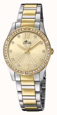 Lotus Brazalete de reloj de acero dorado y plateado para mujer L18384/1