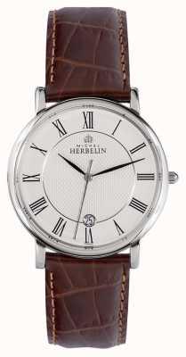 Michel Herbelin Clásico | 38 mm | esfera blanca | correa de cuero marrón 12248/08MA