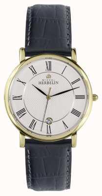 Michel Herbelin Clásico | 38 mm | esfera blanca | correa de cuero negro 12248/P08