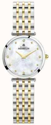 Michel Herbelin Epsilon   esfera de nácar   pulsera de acero de dos tonos 17116/BT89