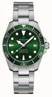Certina Ds action diver | esfera verde | pulsera de acero inoxidable C0328071109100