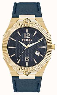 Versus Versace Reloj Echo Park con correa de piel azul VSP1P0221