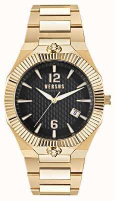 Versus Versace Echo park reloj dorado de acero inoxidable con esfera negra VSP1P0721