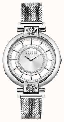 Versus Versace Pulsera de acero inoxidable de malla de lago plateado para mujer VSP1H0521