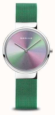 Bering Aniversario | mujer | plata pulida | pulsera de malla verde 10X31-ANNIVERSARY1