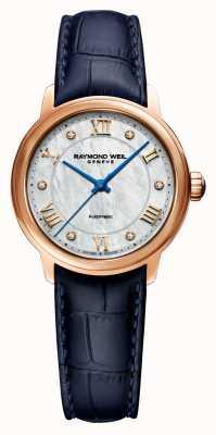 Raymond Weil Maestro de la mujer | correa de cuero azul | esfera de nácar 2131-P53-00966